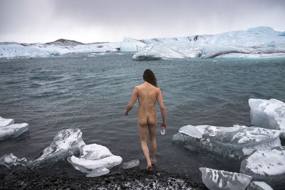 Swimming in Jökulsárlón glacial lagoon on an Iceland road trip