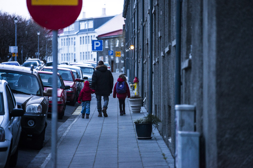 Walking home from school in Reykjavik on an Iceland road trip