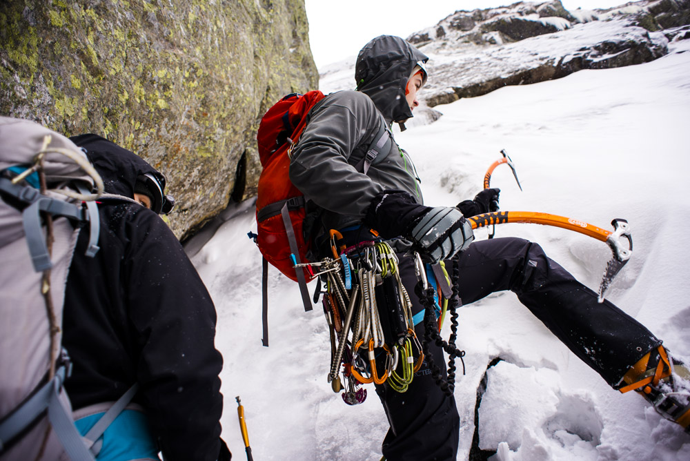 Ice climbing Central Gully