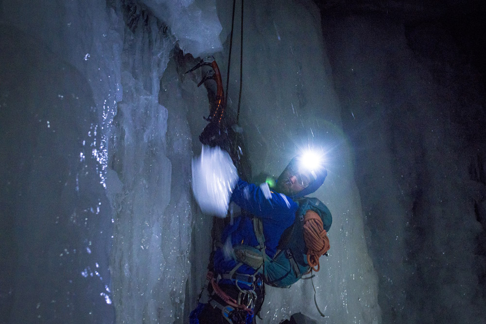Night Ice Climbing at the Auburn Ice Canyon