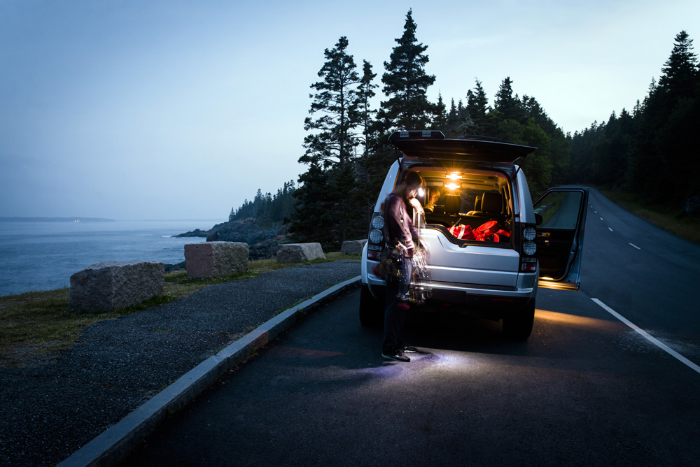 Packing up after climbing at Otter Cliffs in Acadia