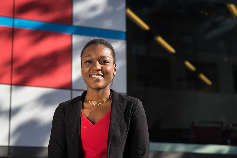 11/18/2015 - Cambridge, MA - Portrait of MIT senior Larissa Senatus in front of the Media Lab at 20 Ames Street on November 18th, 2015. (Ian MacLellan for MIT News)