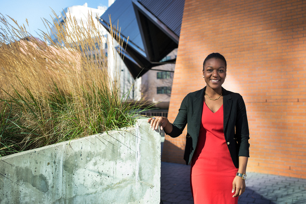 11/18/2015 - Cambridge, MA - Portrait of MIT senior Larissa Senatus in front of the Stata Center on November 18th, 2015. (Ian MacLellan for MIT News)