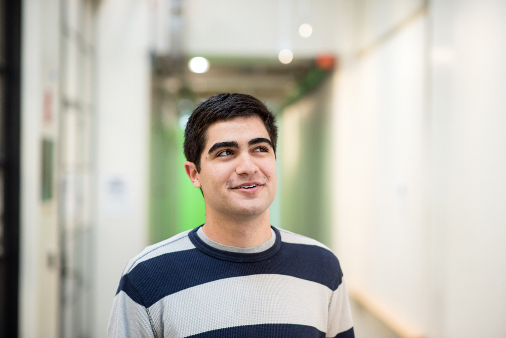 12/02/2015 - Cambridge, MA - Portrait of MIT senior Sami Alsheikh in the Rogers Building on December 2nd, 2015. (Ian MacLellan for MIT News)