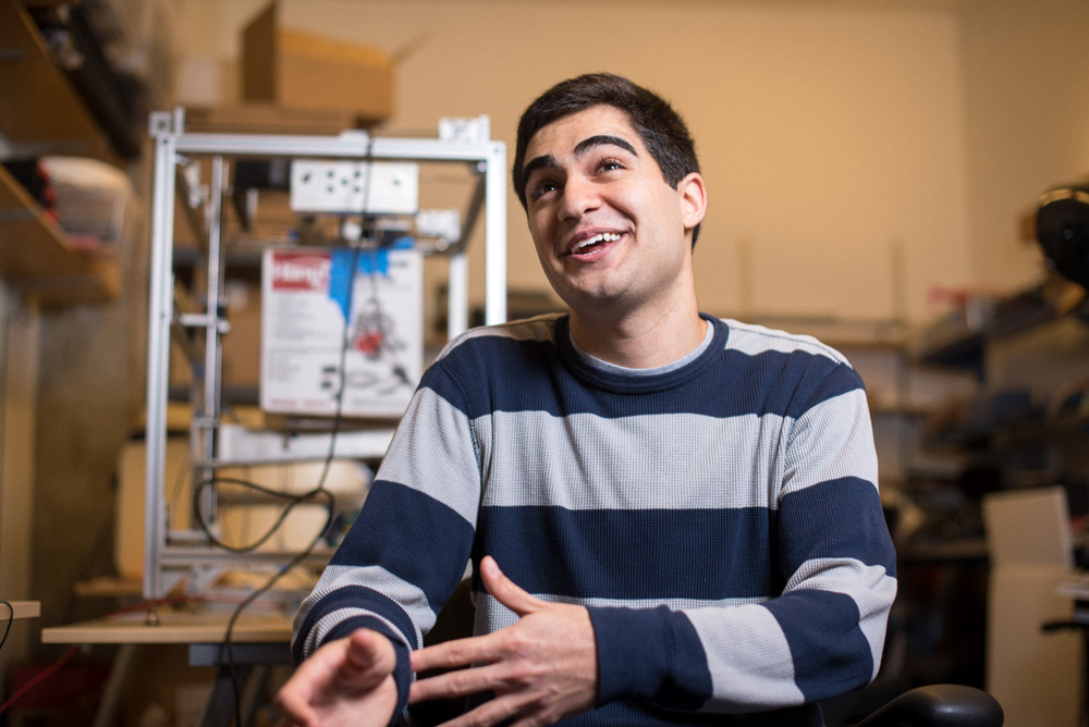 12/02/2015 - Cambridge, MA - Portrait of MIT senior Sami Alsheikh in the CSAIL office in the Stata Center on December 2nd, 2015. (Ian MacLellan for MIT News)