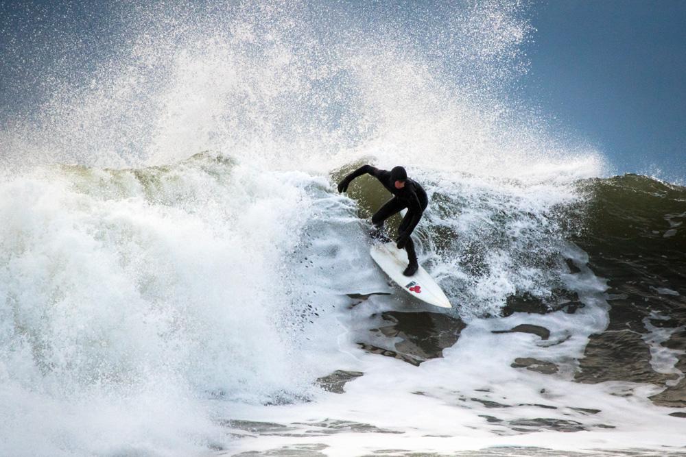 Rye Rocks Winter Surfing